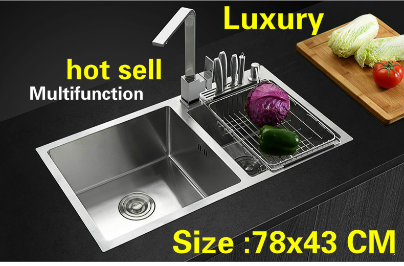 Free Shipping Apartment Multifunction Kitchen Manual Sink Double Groove 304 Stainless Steel Do The Dishes Hot Sell 78x43 CM