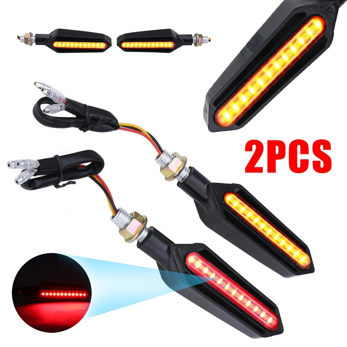Red LED Indicator Light 2 Pcs Motorcycle Amber Flowing LED Turn Signal Light