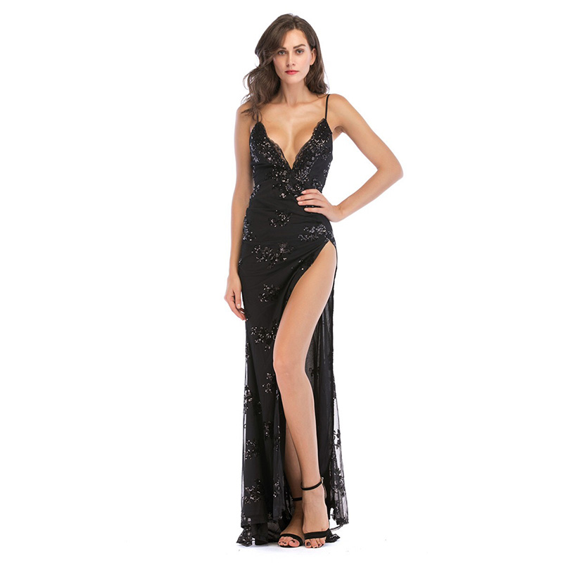 D139 sexy deep V-neck back open floor length high side split spaghetti straps black sequined long dress