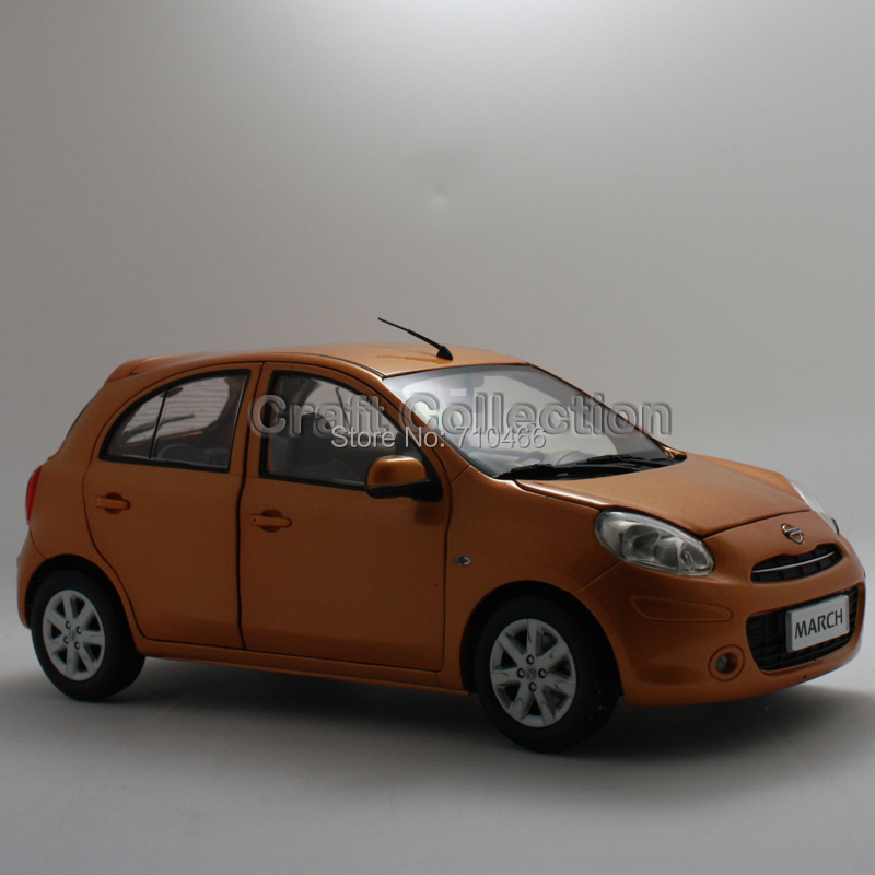 orange 1 18 nissan march micra hatchback alloy model brinquedos diecast model mini car toys