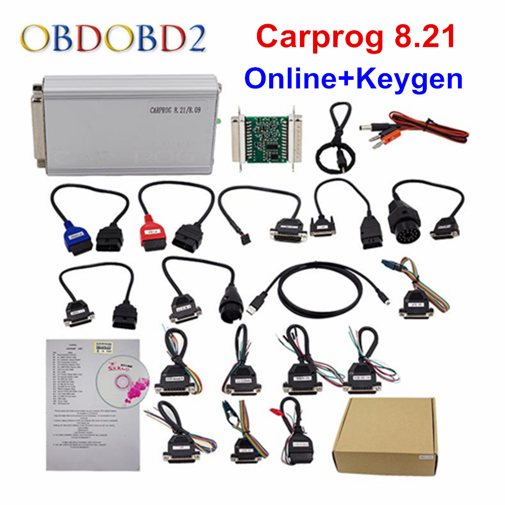 Best Quality Carprog Full V8.21 OBDII ECU Chip Tuning Tool Online Version with All 21 Adapters Much More Authorization DHL Free free shipping carprog 9 31 ecu chip tunning car prog v9 31 carprog full newest version with all 21 items adapters