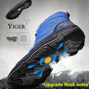Image 4 - YIGER New Men snow boots winter Man Cotton shoes Zipper Large size 38 46 men leisure hiking shoes Waterproof non slip casual 223