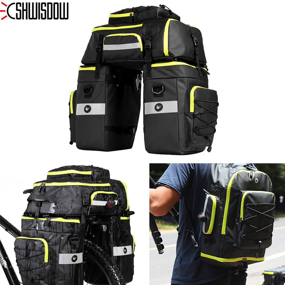 3 in 1 Waterproof Polyester Mountain Road Bicycle Bike Bags backpack Cycling Double Side Rear Rack Tail Seat Trunk Bag Pannier