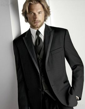 Fashion Style Two Button Black Groom Tuxedos Groomsmen Men's Wedding Prom Suits Bridegroom (Jacket+Pants+Vest) K:993