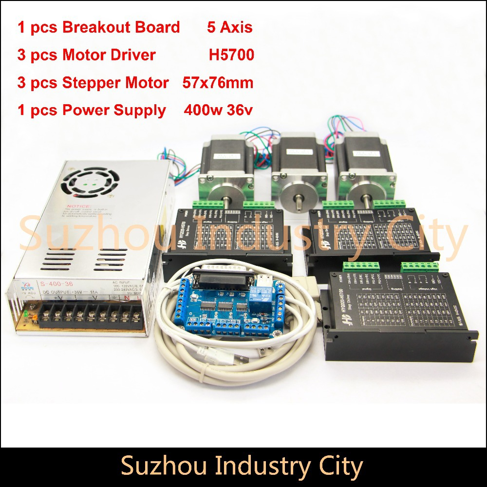 3Axis CNC stepper motor control kits name23 stepping motor + Driver 9-42VDC 4A+Power supply switch 400w 36v+5axis breakout board