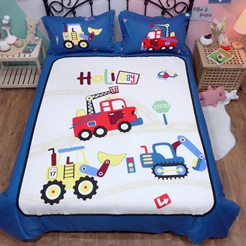 White blue bedding sets car quilt cover Cartoon 100% Cotton Bed Sheet Twin Queen King Size Duvet Cover Set children bedclothes