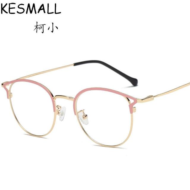 6bfbc8c87eb72 KESMALL 2018 Alloy Myopia Glasses Frame Women Men Cat Eye Optical  Eyeglasses Frames Vintage Eyewear Fashion Oculos YJ1062