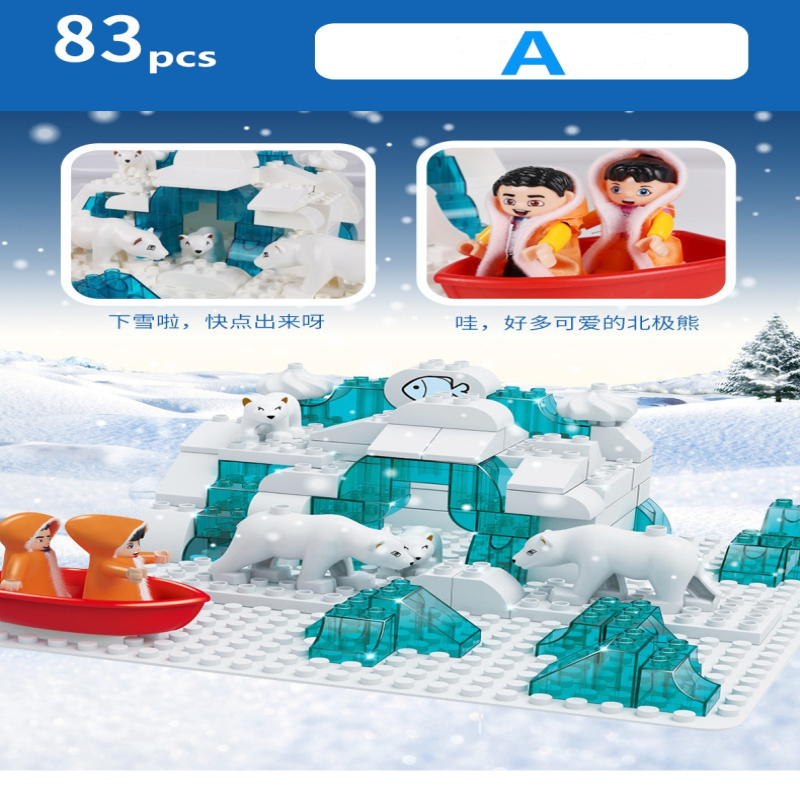 Grande taille legoe minecraft chiffres blocs de construction ours Polaire Maison de Neige grandes briques avec livraison plaques de base Modèles Jouets pour Enfants