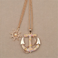 Sindlan Necklace Fashion Jewelry Charm Color Crystal Boat Anchor Rudder Pendant Long Necklace Multilayer Sweater Chain For Women