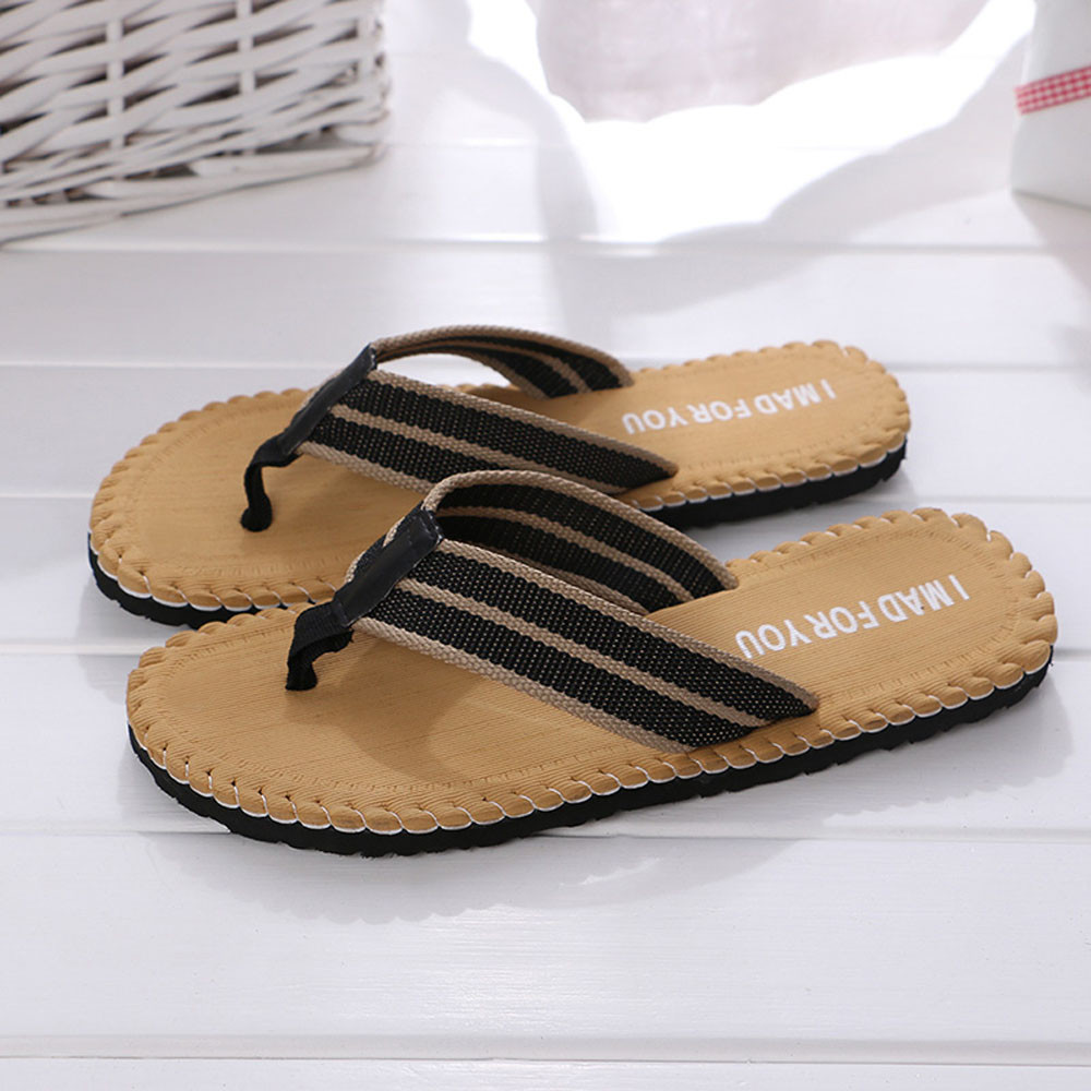 Men Summer Stripe Flip Flops Shoes Sandals Male Slipper Flip-flops Beach Shoes Mans Footwear Terlik Kapcie#35(China)