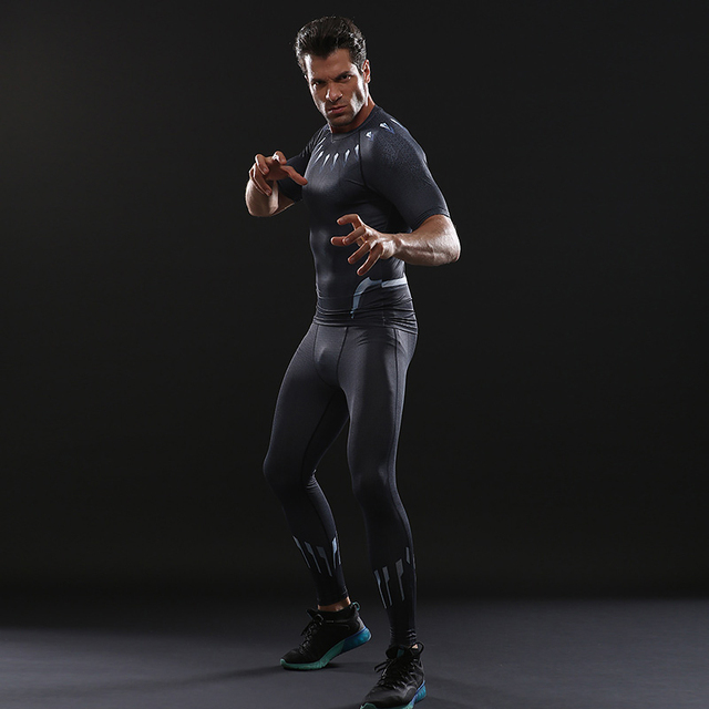be47f1fc0b1 Black Panther T shirts Black Panther Cosplay Costume Sport Tight Tee Gyms  Clothes Full Costume Black Friday 2018 Carnival Party
