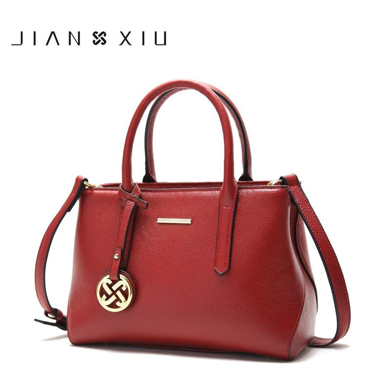 Bolso de mano de marca JIANXIU, bolsos de mano de marcas famosas, bolso de hombro de cuero genuino, bolso de mano con borla colgante-in Bolsos de hombro from Maletas y bolsas    1