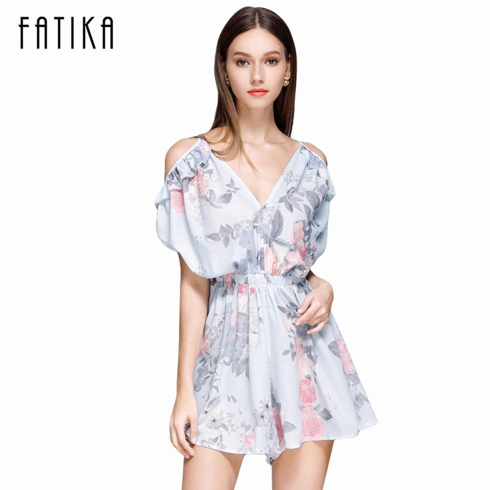 FATIKA Women Flower Print Pleated Playsuits Summer 2017 Jumpsuit Sexy Off Shoulder Playsuit Ruffled V Neck