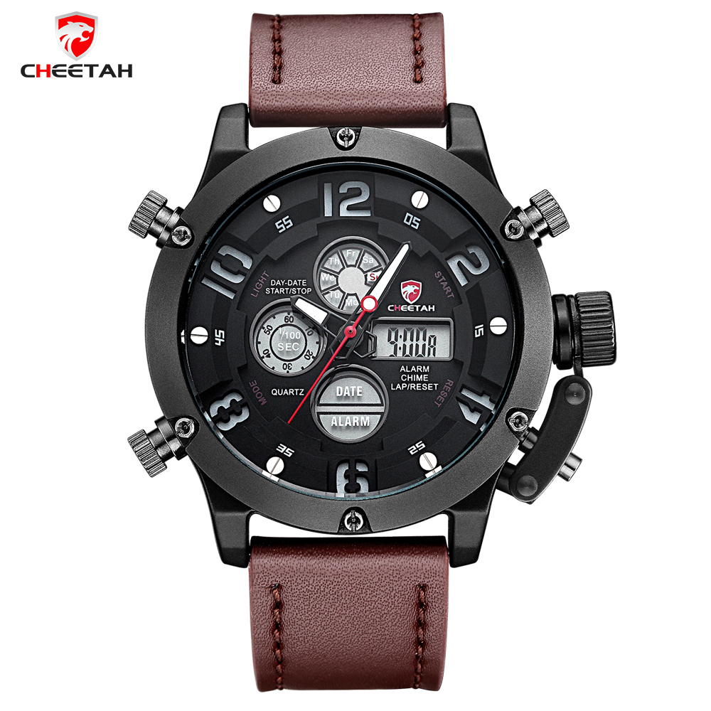 2017 New Top Luxury Brand Men Sports Watches Men's Quartz Analog Led Clock Man Leather Army Military Wrist Watch weide new men quartz casual watch army military sports watch waterproof back light men watches alarm clock multiple time zone
