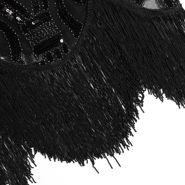 Sequin flapper dress in paisley black