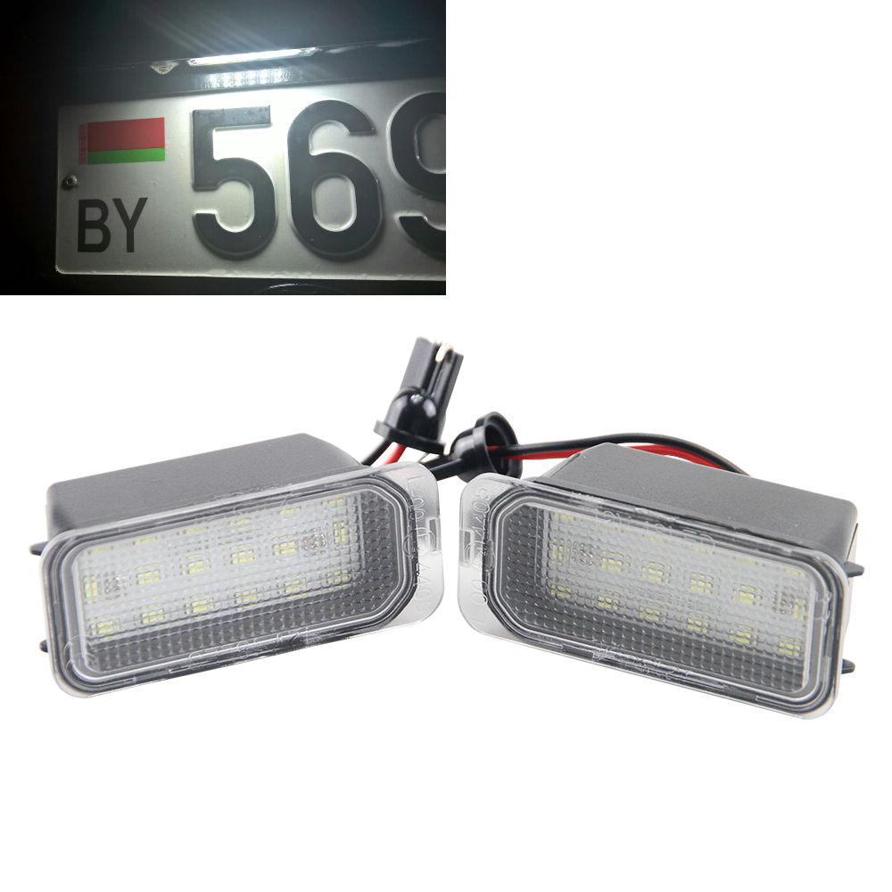 2x Error Free Led Rear License Plate Light 12V For Ford Fiesta JA8 S-max C-max Mondeo Kuga for JAGUAR XJ Auto lamp Car styling 2pcs car led license plate light 12v smd3528 led number plate lamp bulb kit free error for ford focus 5d mondeo fiesta s max