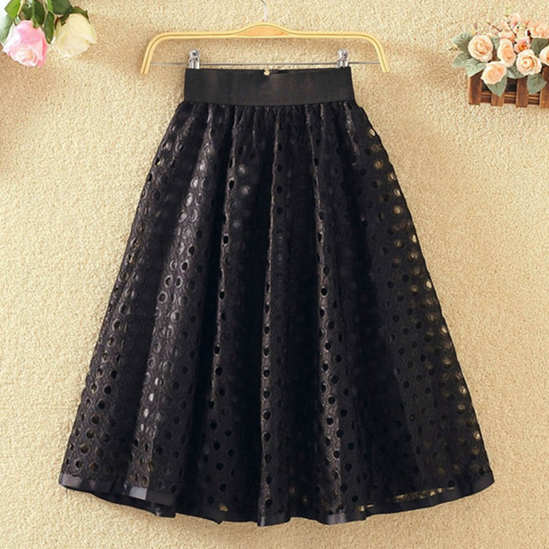 thin high waist a word half skirt circle hollow lace Korean version in the long paragraph Dot Hollow summer new
