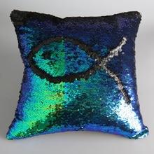 Nueva Calificado 2017 venta Caliente Doble del Color Del Brillo de Las Lentejuelas Throw Pillow Case Home Cafe Cojín almohada cubre El Envío libre