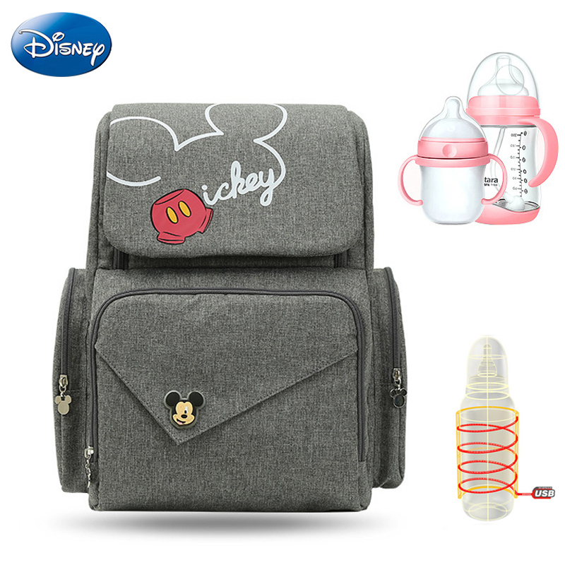 Disney New High-capacity Feeding Bottle Thermal Insulation Bags USB Oxford Cloth Diaper Storage Backpack Baby Care Back Packs