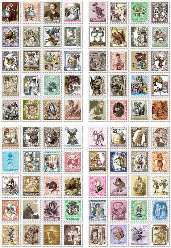 4 Pcs Paris 7321 Classical Vintage European Style Alice Folded Stamp Decorative Stickers Material Kawaii Stickers Notebook Paper