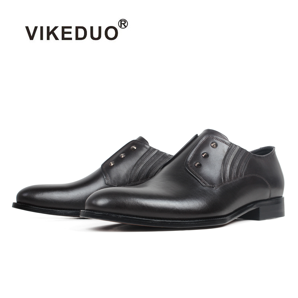 VIKEDUO Plain Formal Dress Shoes For Men Handmade Patina Wedding Office Mans Suits Footwear Genuine Cow Leather Oxford Shoes