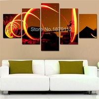 Newly 5 Panels Modern Wall Art Canvas Painting Red Wine Glass And Aperture Modular Paintings On