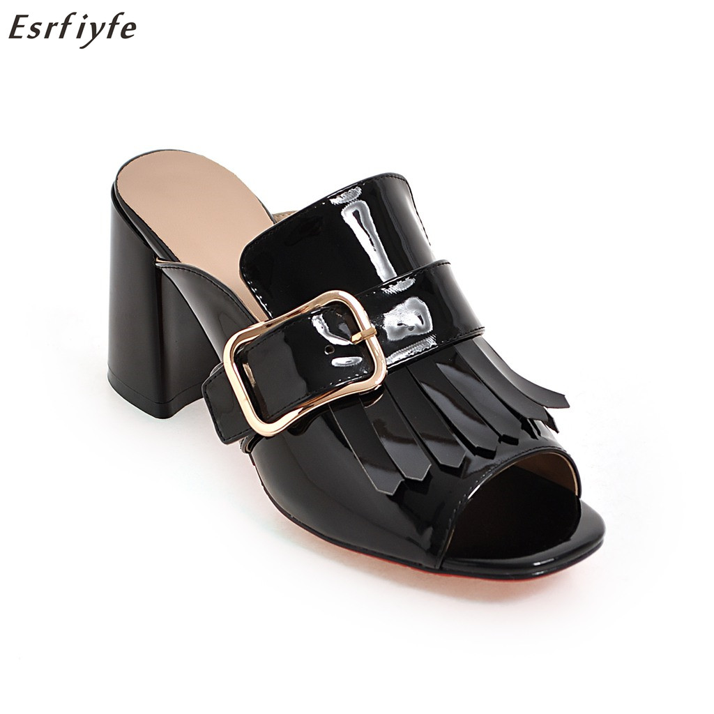 ESRFIYFE <font><b>High</b></font> <font><b>Heels</b></font> <font><b>Slipper</b></font> with <font><b>Sexy</b></font> <font><b>High</b></font>-heeled <font><b>Women</b></font> Cool <font><b>Slippers</b></font> Pep Toe Flock Up <font><b>Shoes</b></font> Increased Solid Fringe <font><b>Shoes</b></font> <font><b>Women</b></font> image