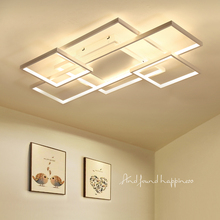 NEO Gleam Rectangle Coffee / White Color Modern Led Chandelier for living room bedroom Home deco Dimmable + RC Ceiling chandelier