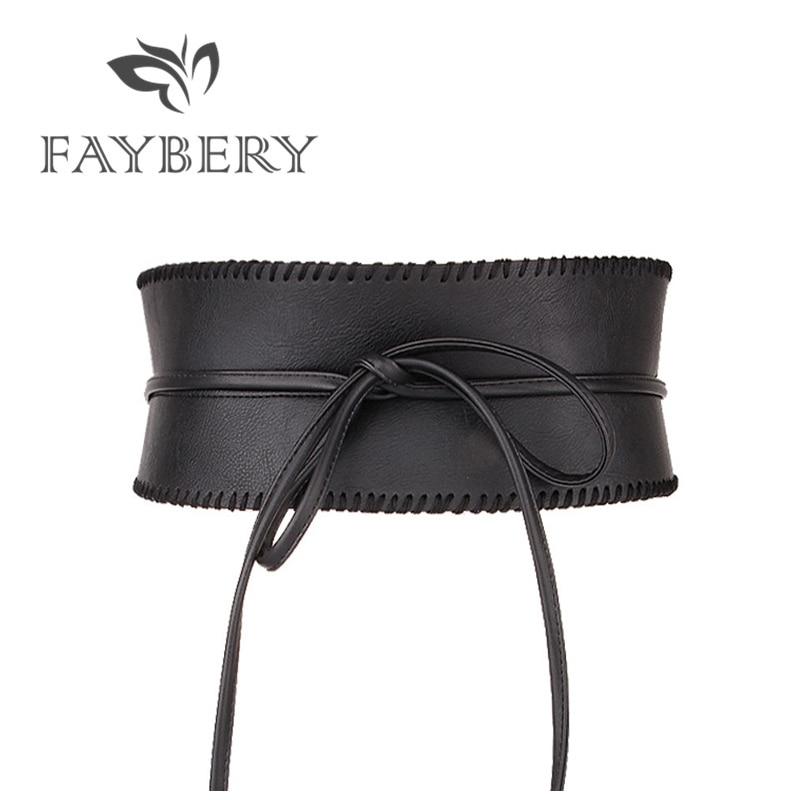 Elegant Self Tie Wide Belts For Women Soft PU Leather Bowknot Belt Obi Style Wrap Around Waistband Black Long Dress Belts
