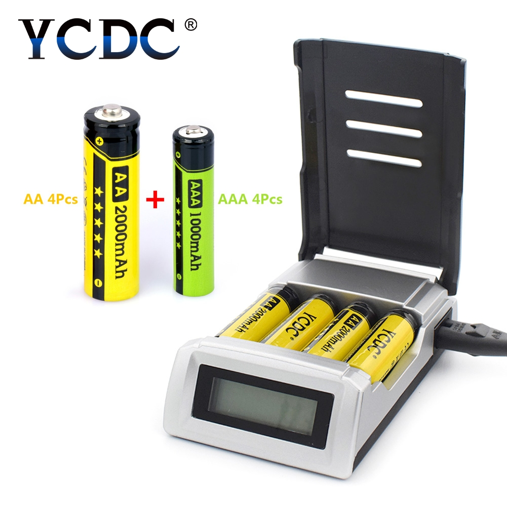 YCDC 1.2V 4 slots AA / AAA Rechargeable Batteries + NIMH nicd quick LCD display charge battery charger with EU AU US UK plug стоимость
