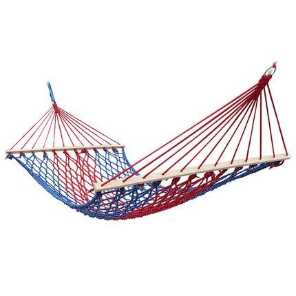 Vacances ensoleillées coton corde filets maille hamac bois extérieur camping balançoire armée simple/double hamac 150 kg portant lit bébé