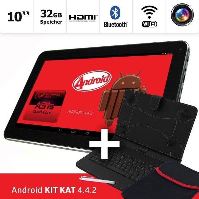 2016 Новые таблетки шт 10.1 дюймов Tablet PC 32 ГБ Android 4.4.2 Quad Core Bluetooth 2 xMicroUSB Порт С крышкой Клавиатуры и мешок