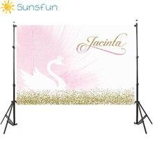 خلفيات استحمام الطفل Sunsfun 7x5ft خلفيات عيد ميلاد سعيد بجعة وردية خلفيات مخصصة لاستوديو الصور للعام الجديد 220x150cm