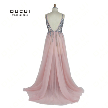 Real Photo Ball gown Spaghetti Strap Illusion Hand Work Beaded Train Long Prom Evening dress Deep V New