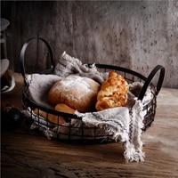 Metal Iron Storage Basket with Handles Scandinavian Elegant Luxury Desk Storage Organizer Decor Food Basket for Home Kitchen
