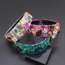 ティアラヘアバンドクリスタルスパンコールなクラウン手作り縫合真珠髪の宝石バロックアクセサリー205