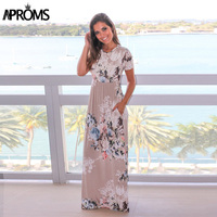 Aproms Cute Floral Print O Neck Sundress Women Casual Side Pockets Maxi Dress Spring 2018 Streetwear