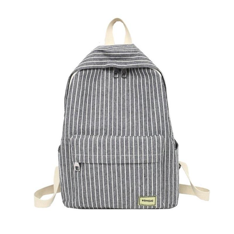 Women Backpack Female School Bag For Teenage Girls Laptop Striped Backpacks Travel Bag Fabric For Student Black Notebook Bagpack