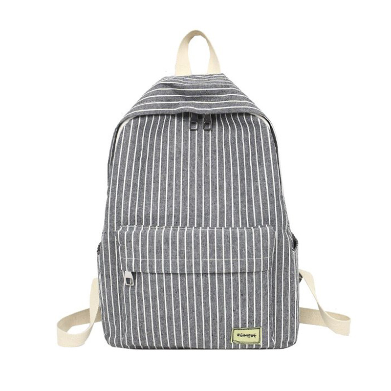 Women Backpack Female School Bag For Teenage Girls Laptop Striped Backpacks Travel Bag Fabric For Student Black Notebook Bagpack