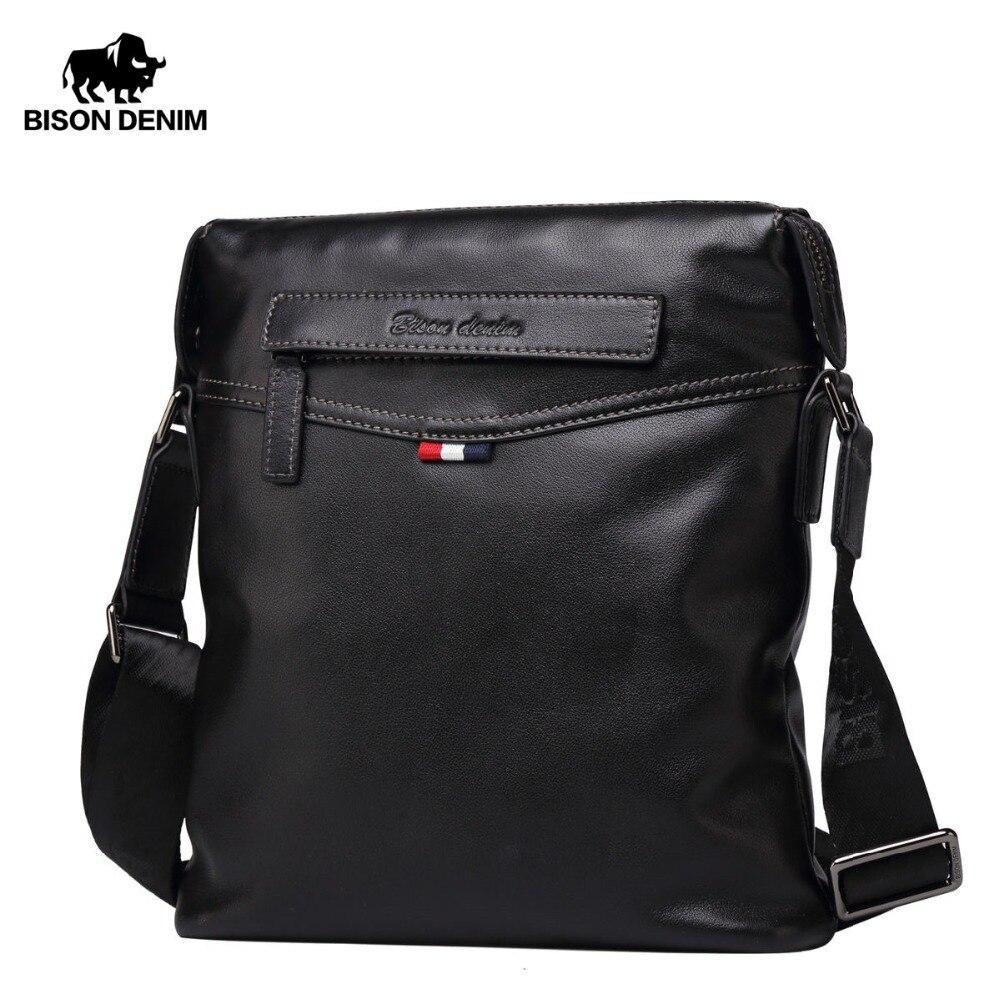 BISON DENIM Bag Men Classic Genuine Leather Crossbody Bag Business Shoulder  Bag Large Capacity Ipad
