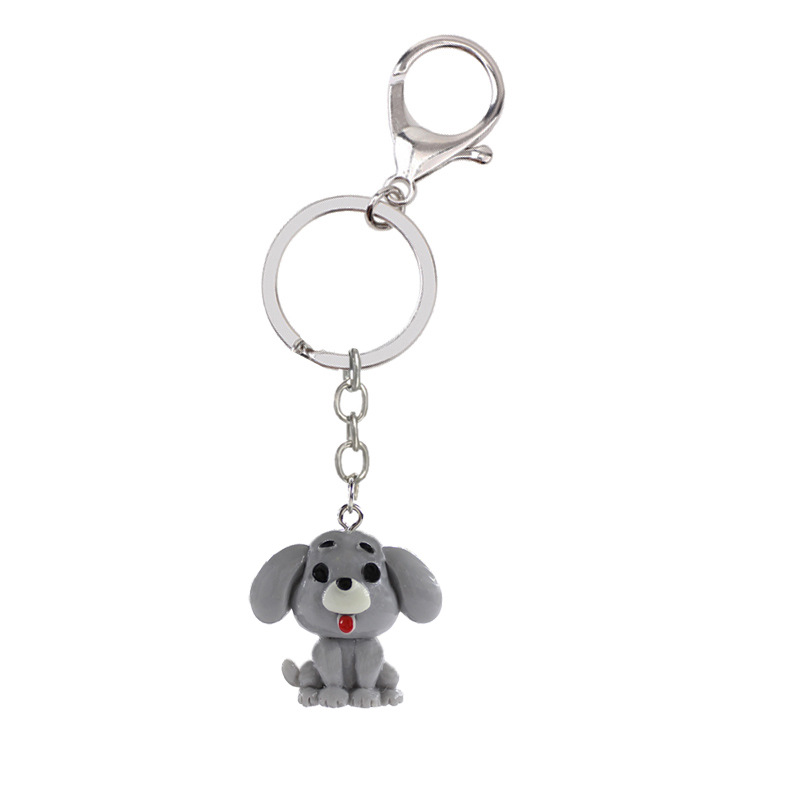 Sitaicery Metal Chaveiro Dog Keychain Glitter Pompom Key Chain Gifts For Women Man Llaveros Mujer Car Bag Accessories Key Ring in Key Chains from Jewelry Accessories