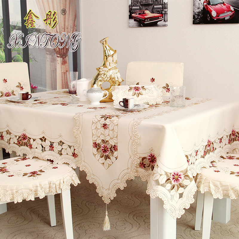 TY218 Fashion European Garden Embroidered Tablecloth Elegant Dining Table Cloth Thicken Linen Chair Cover Cushion Backrest