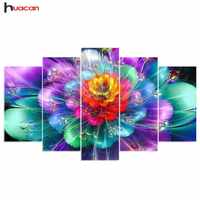 Huacan 5D DIY Diamond Embroidery Flower Diamond Painting Cross Stitch Multi-picture Rhinestone Mosaic Home Decoration 5pcs