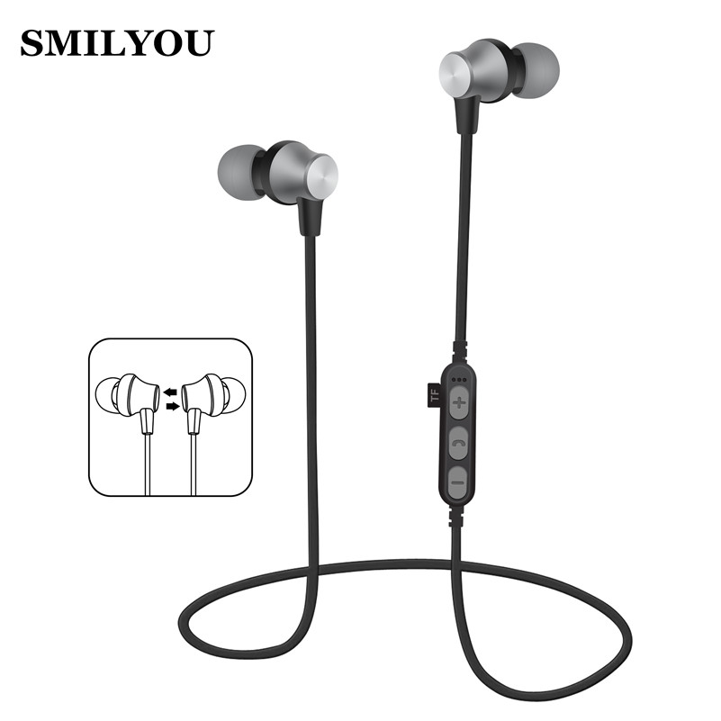 SMILYOU Sport Bluetooth Earphones stereo music wireless headphone earphone for phone Magnetic Headset headphone with Microphone smilyou multifunction wireless bluetooth 4 1 stereo headphone sd card