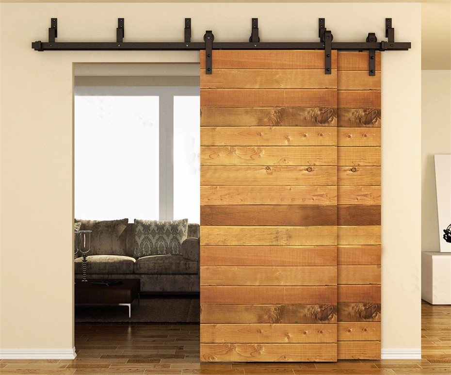 5FT 6FT 66FT 75FT 8FT American Style Interior Sliding Double Barn Door Hardware Bypass Wood Roller Closet Track Kit Set