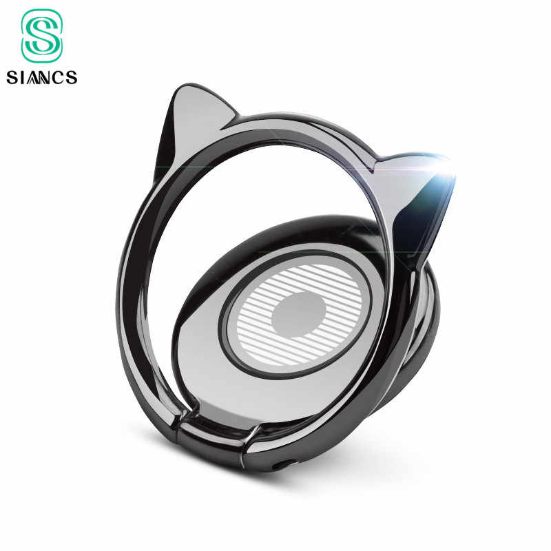 SIANCS Alloy Cat Ear Cute Finger Ring Holder For iPhone X 8 Samsung Xiaomi 360 rotate Mobile Phone Stand for Magnetic Car Holder