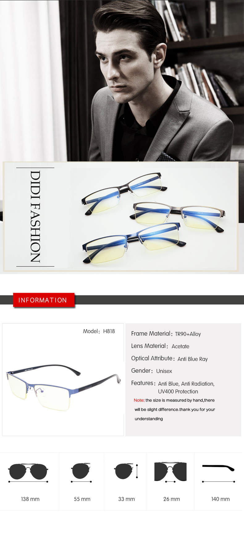 7c7b24ed9f3 DIDI 2018 Eyeglasses Half Business Men Computer Anti Blue Glasses ...