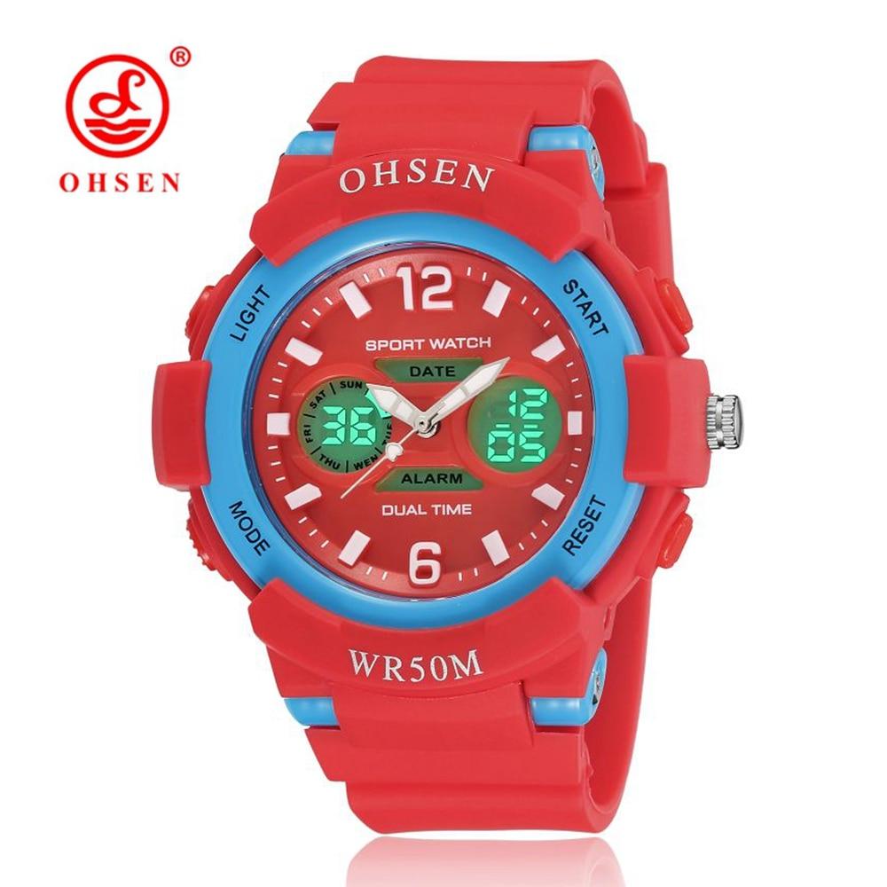 Hot Sale OHSEN Fashion Digital Kid Girl Wristwatch Red Rubber Band Alarm Date LCD 50M Swim