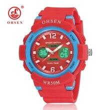 Venta caliente ohsen digitaces de la moda chico chica reloj de pulsera banda de goma roja Fecha de alarma LCD 50 M de Natación Reloj de Los Niños Regalos Reloj De la Mano Del Niño