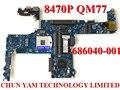 Original laptop motherboard 686040-001 para hp elitebook 8470 p qm77 notebook placa de sistema mainboard 100% testado garantia 90 dias